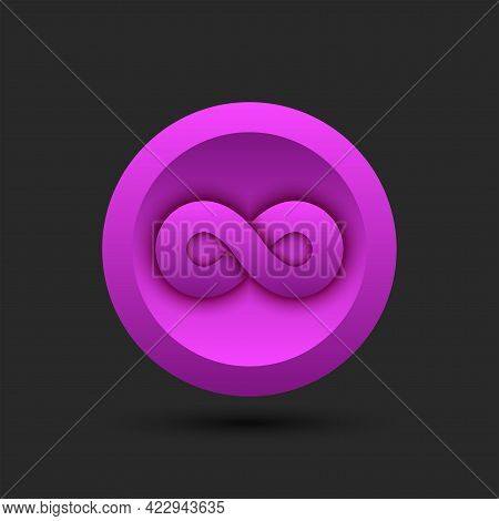 Infinite Symbol Logo For Cryptocurrency On A Round Pink Background Infinite 3d Geometric Shape.