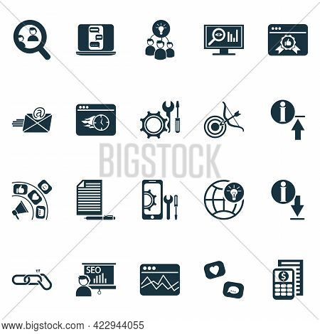 Business Icons Set With Copywriting, Seo Monitoring, Targeting And Other Aim Elements. Isolated Illu