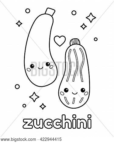 Cute Cartoon Zucchini With Face. Coloring Page For Kids. Learn About Healthy Food. Outline Vector Il