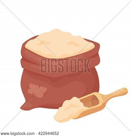 Wheat Flour In A Sack Or Burlap Bag With Wooden Scoop Isolated On White Background. Barley, Oat, Rye