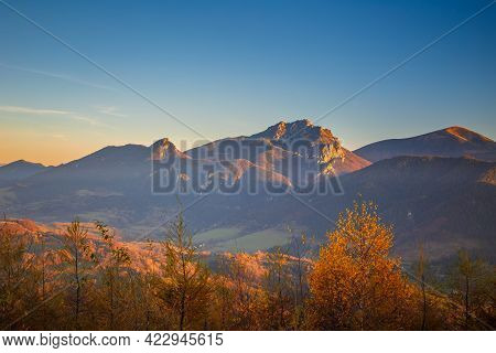 Autumn Rural Landscape With Mountains Peaks On Background. The Mala Fatra National Park, Slovakia, E