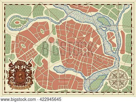 Hand-drawn Abstract City Map With Ornate Coat Of Arms, Wind Rose And Compass Sign. Town Streets With