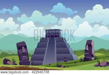 Easter Island. Traveler At Ancient Mayan Pyramids Or Moai Statues. Famous Travel Landscape Location