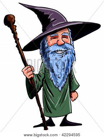 Friendly Cartoon Wizard With Staff