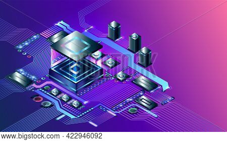 Electronic Cpu Digital Chip. Processor Chip On Circuit Board. Abstract Computer Hardware Or Electron