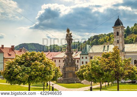 Main Square With Plague Column In Kremnica, Important Medieval Mining Town, Slovakia, Europe.