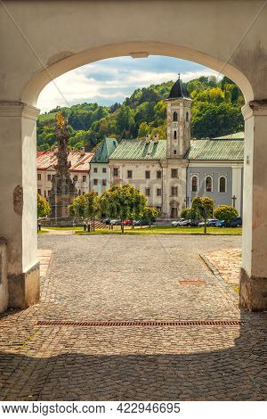 Historic Street In Centre Of Kremnica, Important Medieval Mining Town, Slovakia, Europe.