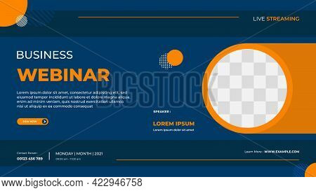 Business Webinar Banner Template For Website With Circle Frame And Minimal Concept Of Geometric Back
