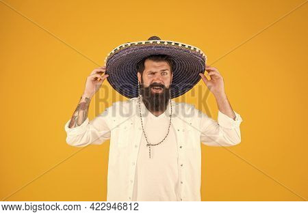 Brutal Bearded Man In Mexican Sombrero Hat. Mexican Day Of The Dead. National Mexico Holiday. Mexica