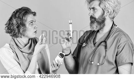 Flu Concept. Medical Injection. Vaccine Development. Man Nurse With Vaccine In Syringe. Doctor Use S