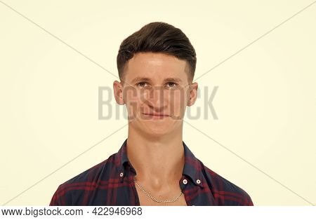 Got Close Shave. Happy Guy Isolated On White. Handsome Guy Smile With Stylish Haircut. Barbershop. H
