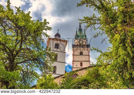 Towers Of Town Castle In Kremnica, Important Medieval Mining Town, Slovakia, Europe.