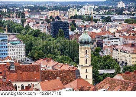 Graz, Austria - May 28 2019: Aerial View Of The Franciscan Church (austrian: Franziskanerkirche Graz