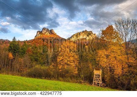 Autumn Rural Landscape With Mountains Peaks On Background. The Vratna Valley In Mala Fatra National