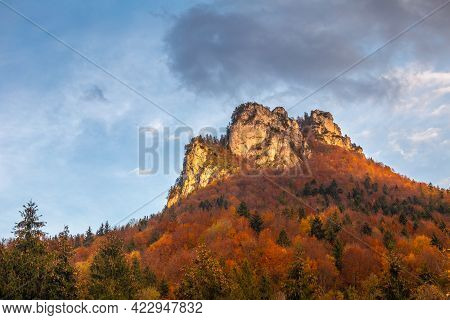 Autumn Rural Landscape With Mountain Peak On Background. The Vratna Valley In Mala Fatra National Pa