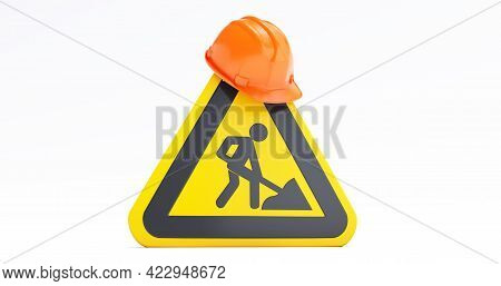 Under Construction Concept, Construction Site, Helmet Of Security With Under Construction Road Sign.