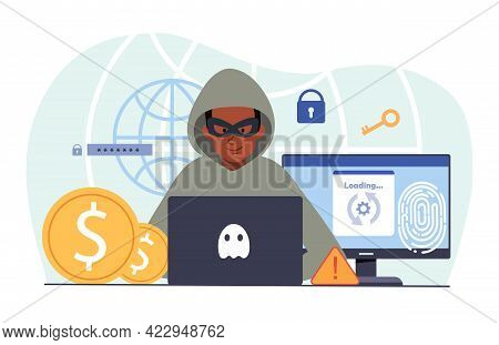 Young Male Hacker Is Cyber Attacking Computer Stealing Personal Data. Concept Of Hackers And Cyber C