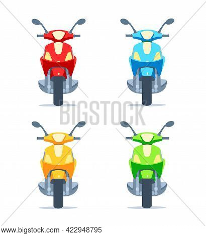 Scooter, Motor Scooter, Motorcycle Of Different Colors On A White Background. Front View. Yellow, Re