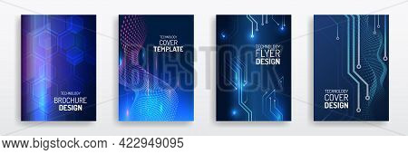 Abstract Technology Cover With Circuit Board. High Tech Brochure Design Concept. Set Of Futuristic B