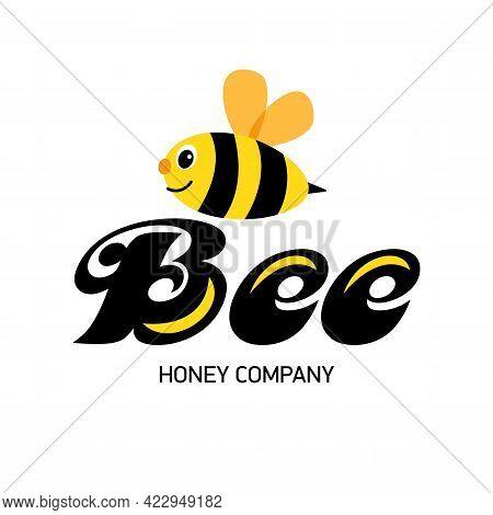 Merry Bee. Logo For Honey Producer Company. Happy Cartoon Abstract Bee