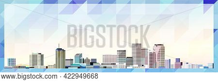 New Orleans Skyline Vector Colorful Poster On Beautiful Background