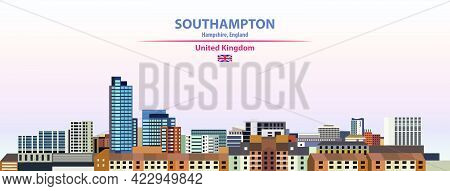 Southampton Skyline Vector Colorful Poster On Beautiful Background