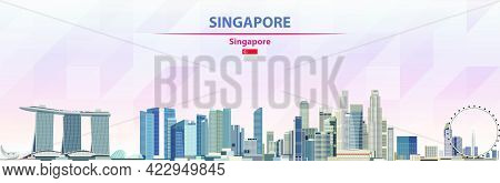Singapore Skyline Vector Colorful Poster On Beautiful Background