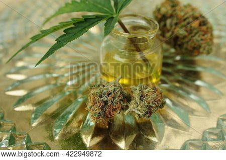 Marijuana Oil And Dried Buds, Cbd Recreation. Fresh Cannabis Leaf Close Up. Home Relaxation, Pastime