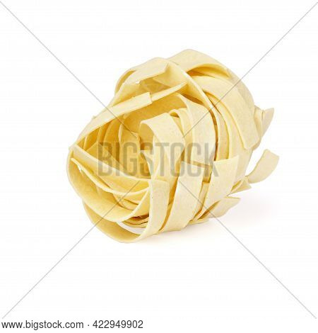 Uncooked Roll Traditional Italian Pasta Isolated On White Background. Dry Pasta Made From Whole Whea