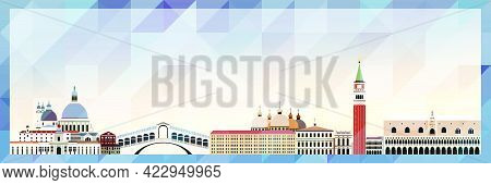 Venice Skyline Vector Colorful Poster On Beautiful Background