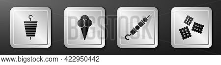 Set Grilled Shish Kebab, Ice Cream In Waffle Cone, Grilled Shish Kebab And Cracker Biscuit Icon. Sil