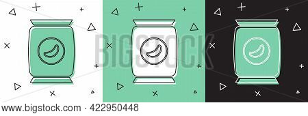 Set Bag Or Packet Potato Chips Icon Isolated On White And Green, Black Background. Vector Illustrati