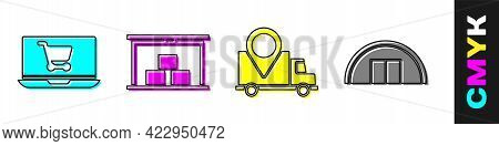 Set Shopping Cart On Laptop, Warehouse, Delivery Tracking And Warehouse Icon. Vector