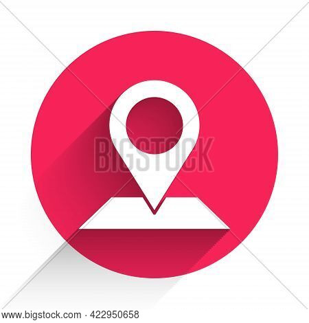 White Map Pin Icon Isolated With Long Shadow. Navigation, Pointer, Location, Map, Gps, Direction, Pl