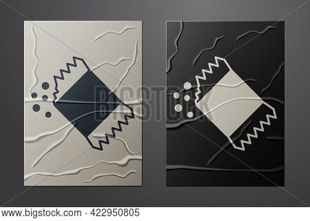 White Packet Of Pepper Icon Isolated On Crumpled Paper Background. Paper Art Style. Vector