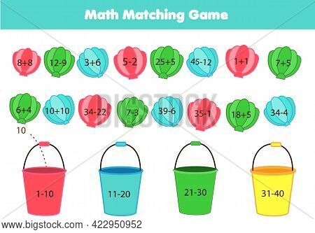 Mathematics Children Educational Game. Summertime Beach Theme Matching Activity. Study Addition And