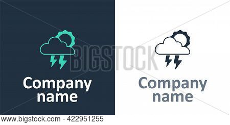 Logotype Storm Icon Isolated On White Background. Cloud With Lightning And Sun Sign. Weather Icon Of