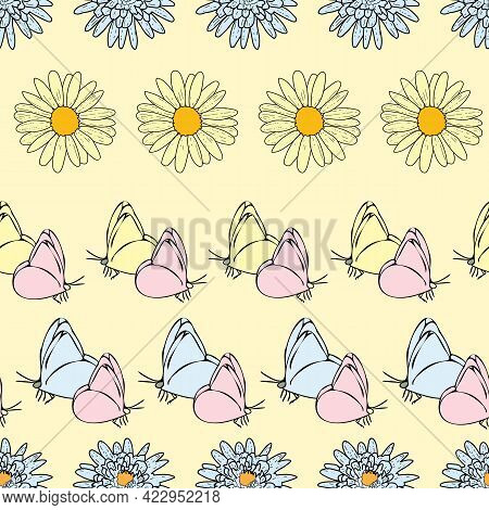 Vector White Background Daisy Flowers, Wild Flowers And Butterflies, Insects. Seamless Pattern Backg