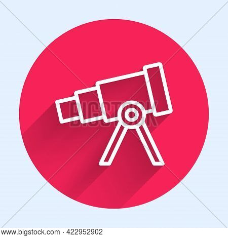 White Line Telescope Icon Isolated With Long Shadow. Scientific Tool. Education And Astronomy Elemen