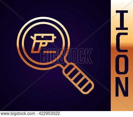 Gold Line Pistol Or Gun Search Icon Isolated On Black Background. Police Or Military Handgun. Small