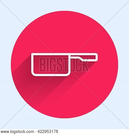 White Line Saucepan Icon Isolated With Long Shadow. Cooking Pot. Boil Or Stew Food Symbol. Red Circl
