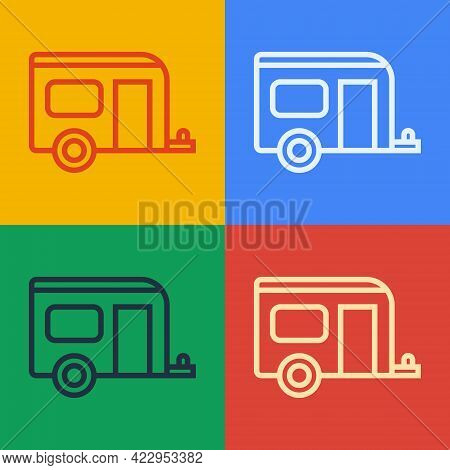 Pop Art Line Rv Camping Trailer Icon Isolated On Color Background. Travel Mobile Home, Caravan, Home