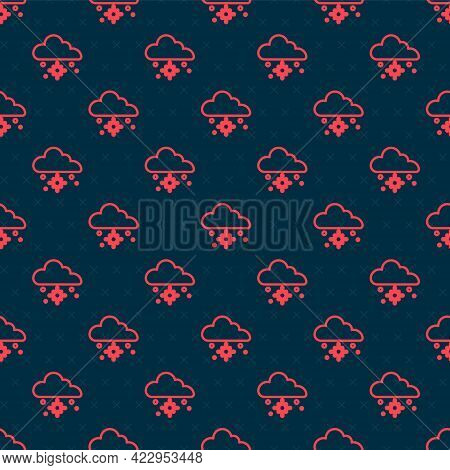 Red Line Cloud With Snow Icon Isolated Seamless Pattern On Black Background. Cloud With Snowflakes.