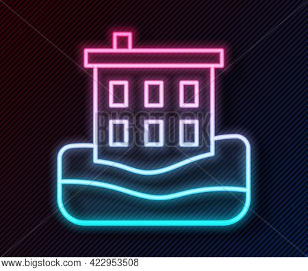 Glowing Neon Line House Flood Icon Isolated On Black Background. Home Flooding Under Water. Insuranc