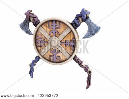 Viking Battle Ax And Shield On An Isolated White Background. 3d Render