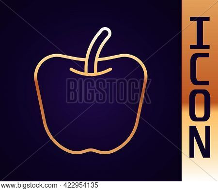 Gold Line Apple Icon Isolated Gold Line Background. Excess Weight. Healthy Diet Menu. Fitness Diet A