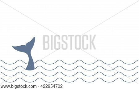 Whale Tail Between Waves Of Ocean Graphic Icon. Whale Tail Sign On White Background. Sea Life Symbol
