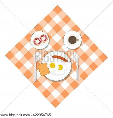 Breakfast, Breakfast Food On A Tablecloth, Breakfast Menu. Vector Illustration. Vector.