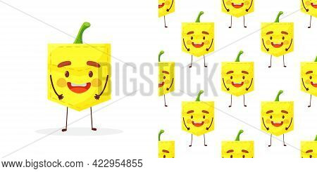 Seamless Pattern Potato Shaped Patch Pocket. Character Pocket Potato. Cartoon Style. Design Element.
