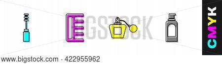 Set Mascara Brush, Hairbrush, Perfume And Spray Can For Hairspray Icon. Vector